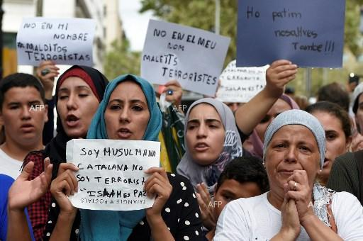 Muslims living in Barcelona staged a demonstration to protest against terrorism and honor the victims of the attack in the city, August 19, 2017;