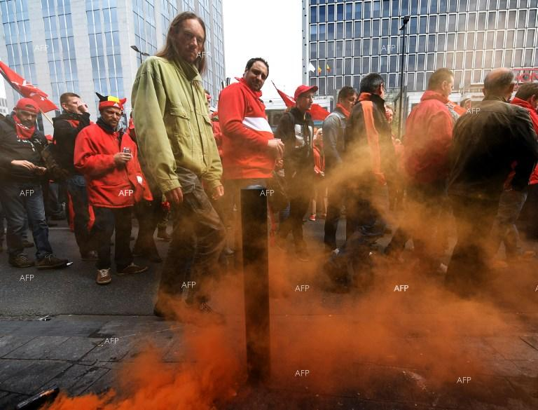 Protest against social-economic policy of Belgian authorities in Brussels.