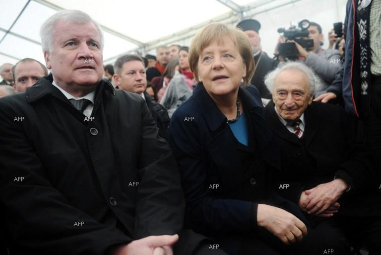 German Chancellor Angela Merkel on a visit to the Dachau concentration camp.