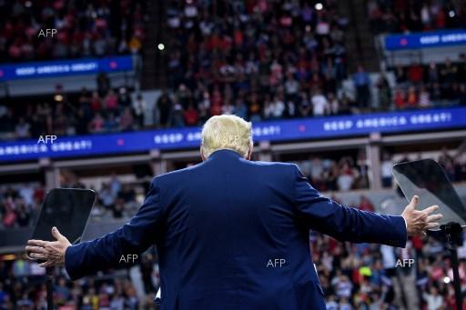 """Donald Trump holds a """"Keep America Great"""" rally in Minnesota. October 11, 2019."""