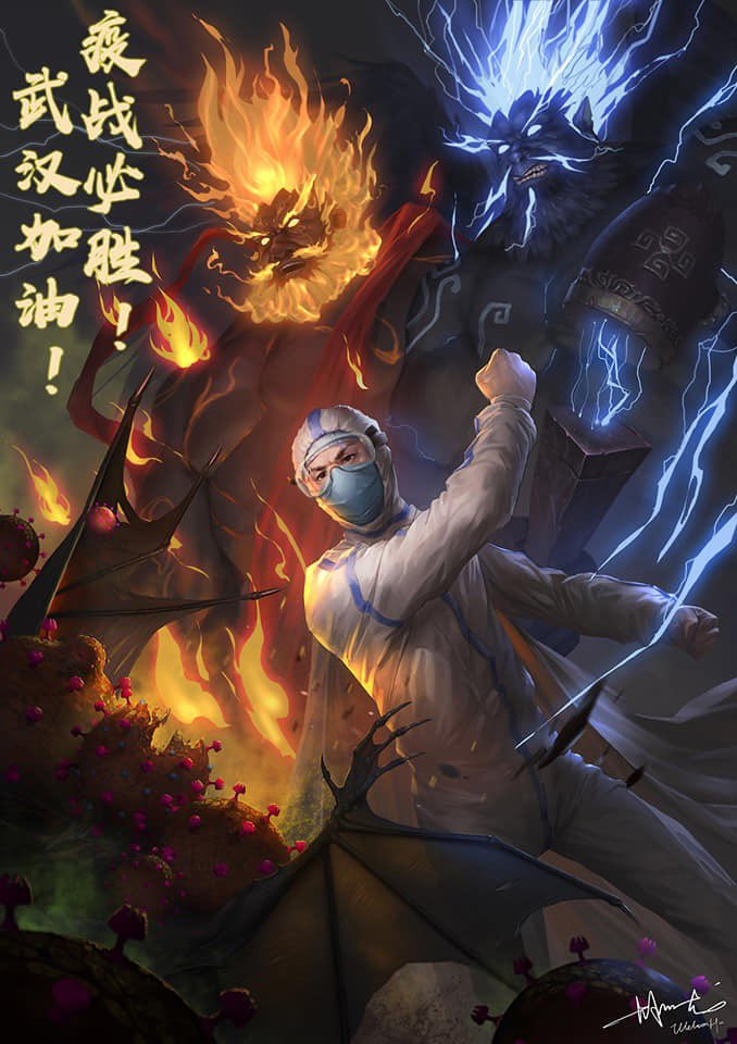 A painting by a Chinese artist depicting the fight against the coronavirus. March 19, 2020