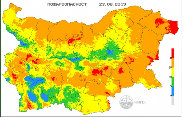 NIMH: Extreme fire danger rating in place for parts of 13 Bulgarian regions
