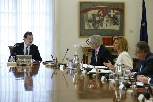Spanish government meets to impose direct rule in rebel Catalonia. October 21, 2017.