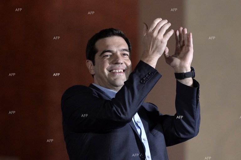 Syriza leader Alexis Tsipras celebrates victory in Greek snap elections.