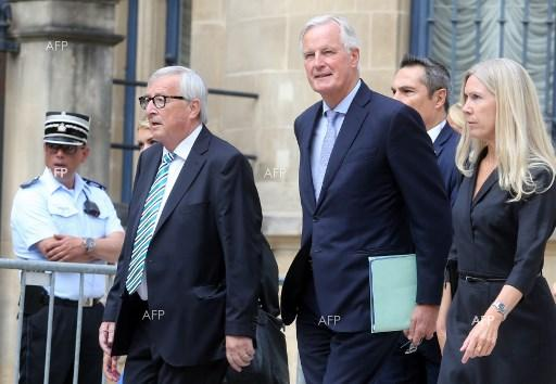 Jean-Claude Juncker and Michel Barnier before their speeches on Brexit. September 18, 2019