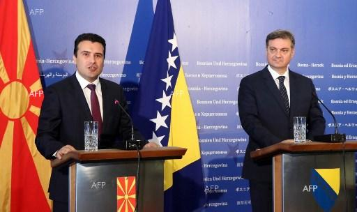 Macedonia Prime Minister Zoran Zaev and his Bosnia and Herzegovina colleague Denis Zvizdic hold press conference in Sarajevo, July 23, 2017;