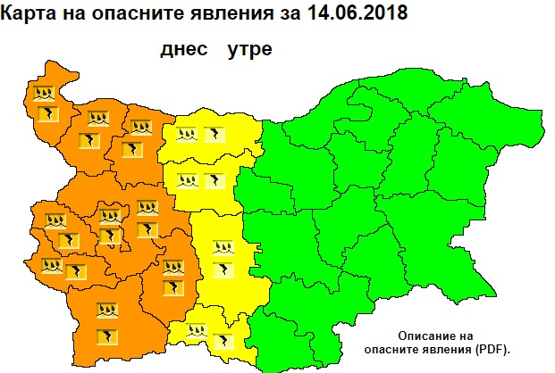 Orange warning for heavy rain with thunder in 9 regions