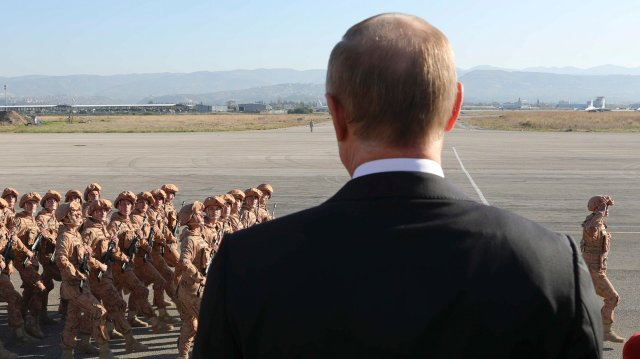 Vladimir Putin on a visit to Russian servicemen in Syria. December 14, 2017;