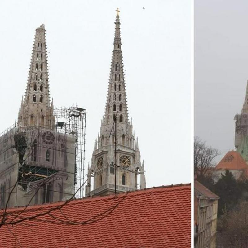 The top of the spire of the Zagreb Cathedral collapsed in the earthquake. March 23, 2020