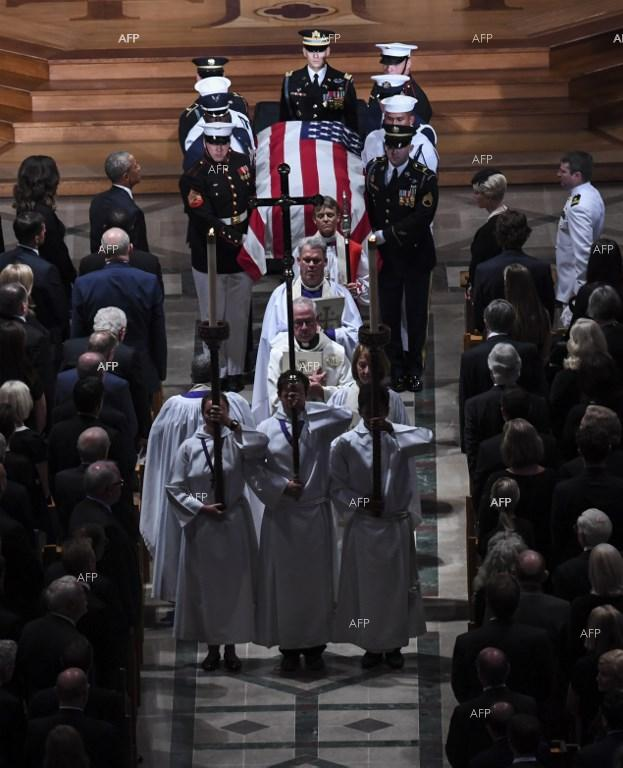 Obama and Bush pay tribute to 'patriot, warrior and statesman' John McCain