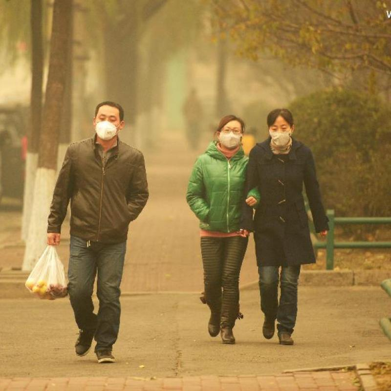 Thick smog in the Chinese city Harbin.