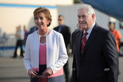 US Secretary of State Rex Tillerson is welcomed by US ambassador Roberta Jacobson (L) as he arrives at Benito Juarez international Airport in Mexico City, Mexico on February 22, 2017