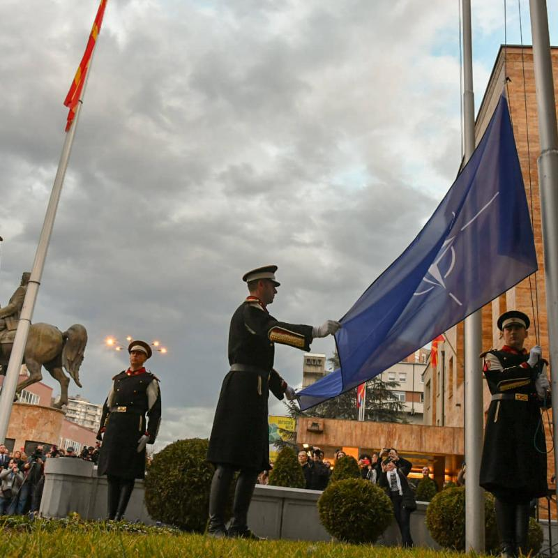 Raising NATO flag in front of North Macedonian parliament. February 12, 2020
