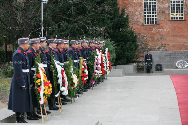 Sofia. Wreaths laid at the Monument to the Unknown Soldier to honour the memory of the Bulgarian soldiers and officers who died fighting in the First World War.
