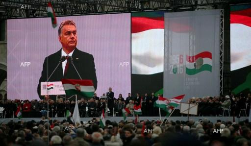 Celebration speech of Hungarian Prime Minister Viktor Orban in front of the Parliament in Budapest. October 23, 2016.