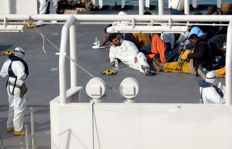 Survivors after Mediterranean shipwreck, which killed 800 African migrants.