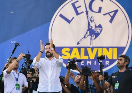 Matteo Salvini at a protest rally in Pontida, Italy. September 15, 2019