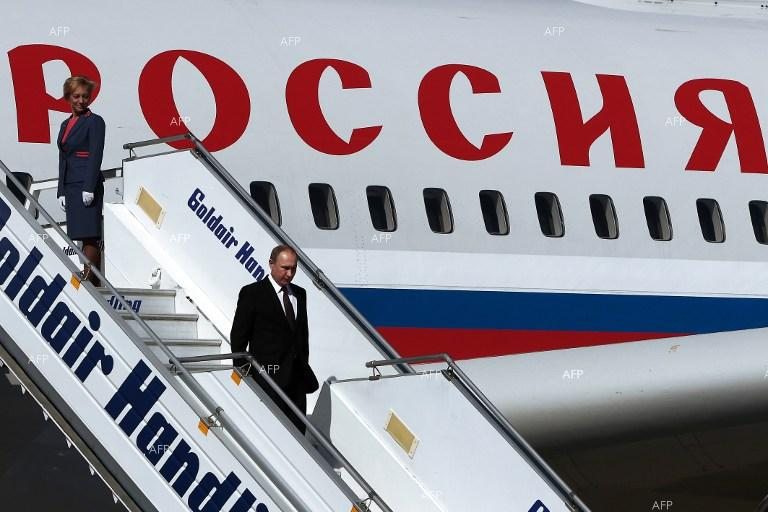Russian President Putin arrives in Athens.