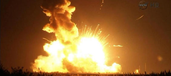 NASA rocket explodes after it lifts off.