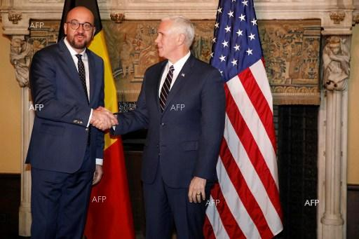 Meeting between Belgium PM Charles Michel and US Vice President Mike Pence. February 20, 2017