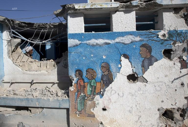 Israeli army strikes a UN agency for Palestinian refugees schools in Jabaliya refugee camp, Gaza Strip.