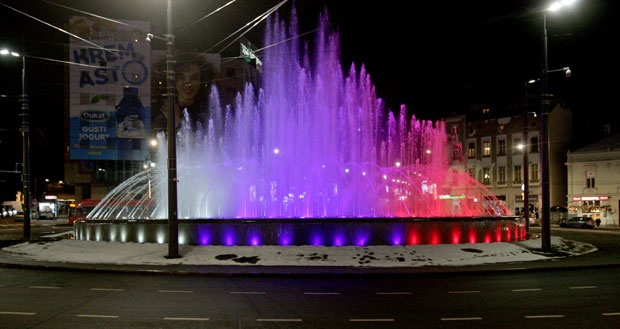 The fountain on Slavija Sq in Belgrade before the visit of Vladimir Putin. January 17, 2019;